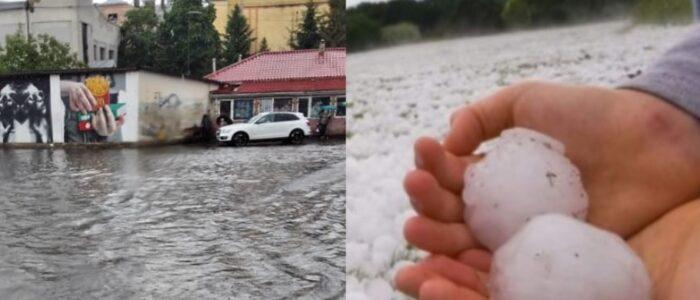 Нищівний ураган в мить перетворив вулиці на річки, а градом розміром з яйце знищив врожай: кадри лютої стихії в Україні